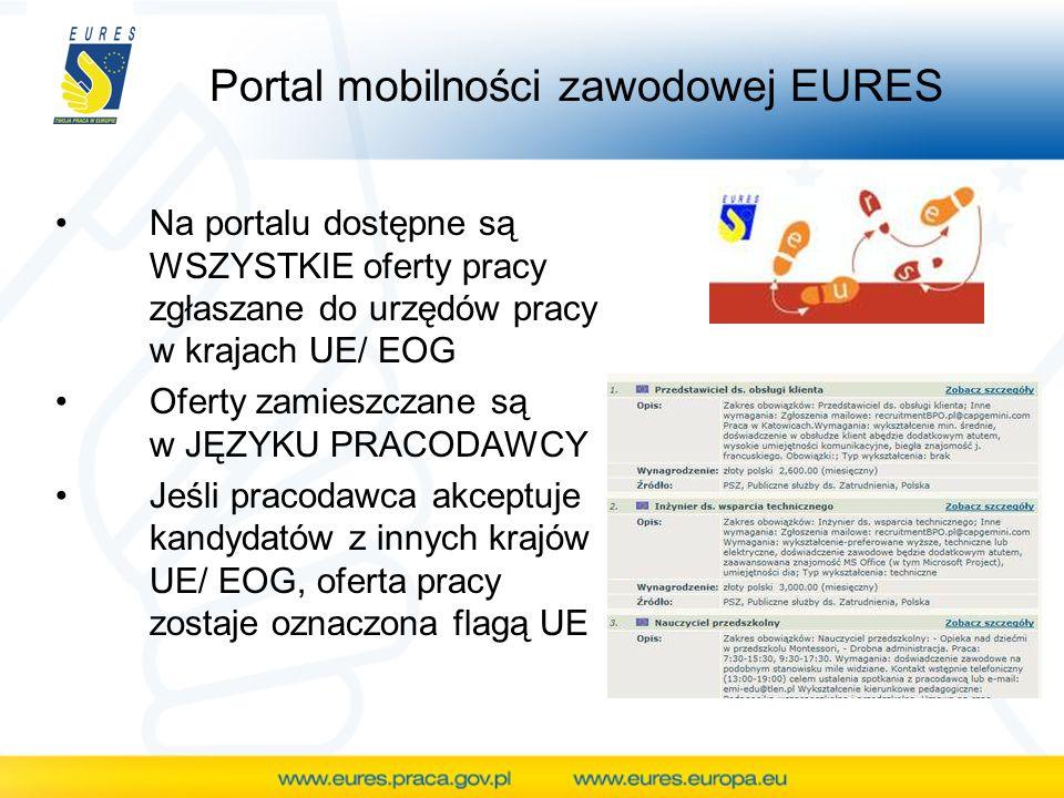 Portal mobilności zawodowej EURES Na portalu dostępne są WSZYSTKIE oferty pracy zgłaszane do urzędów pracy w krajach UE/ EOG Oferty zamieszczane są w