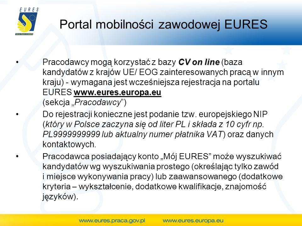 Portal mobilności zawodowej EURES CV on line www.eures.europa.euPracodawcy mogą korzystać z bazy CV on line (baza kandydatów z krajów UE/ EOG zaintere