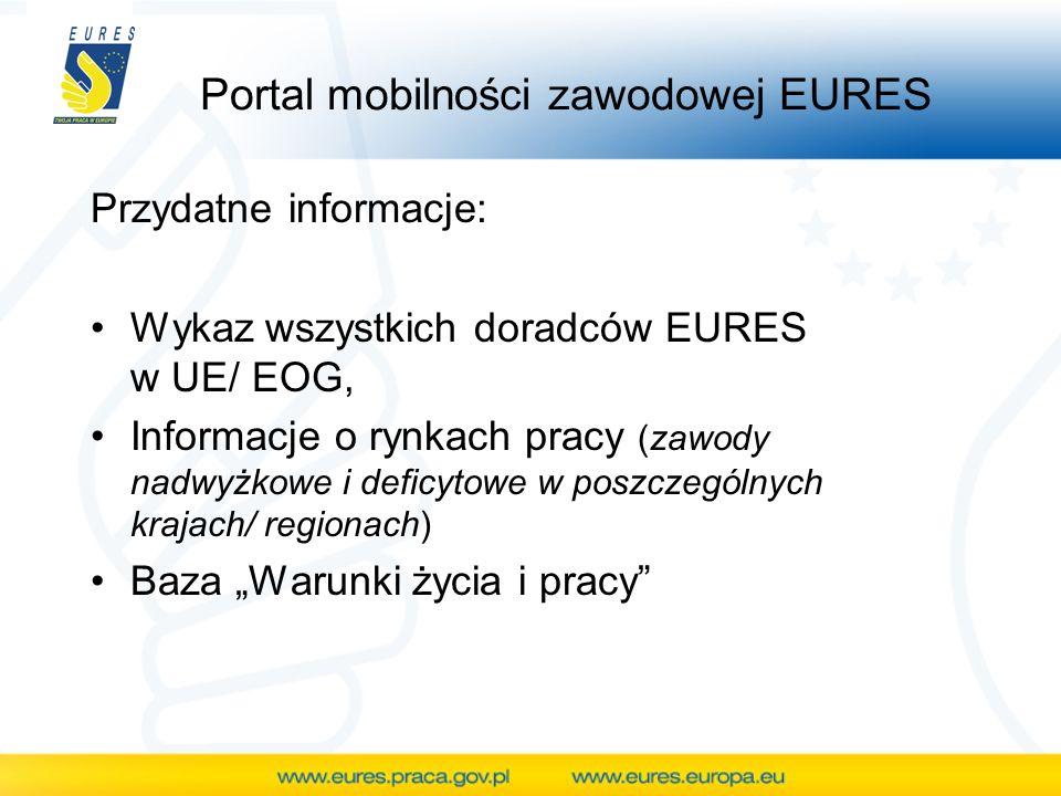 Portal mobilności zawodowej EURES Przydatne informacje: Wykaz wszystkich doradców EURES w UE/ EOG, Informacje o rynkach pracy (zawody nadwyżkowe i def