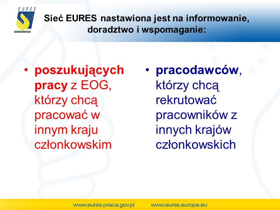 Sieć EURES nastawiona jest na informowanie, doradztwo i wspomaganie: poszukujących pracy z EOG, którzy chcą pracować w innym kraju członkowskim pracod