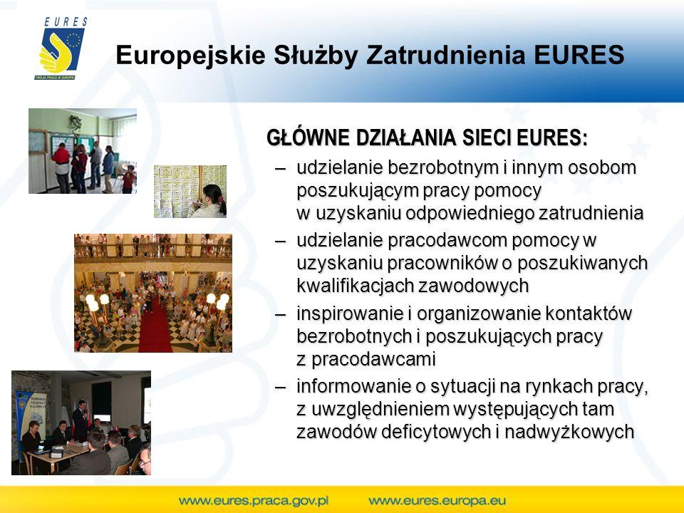 Europejskie Służby Zatrudnienia EURES GŁÓWNE DZIAŁANIA SIECI EURES: –udzielanie bezrobotnym i innym osobom poszukującym pracy pomocy w uzyskaniu odpow