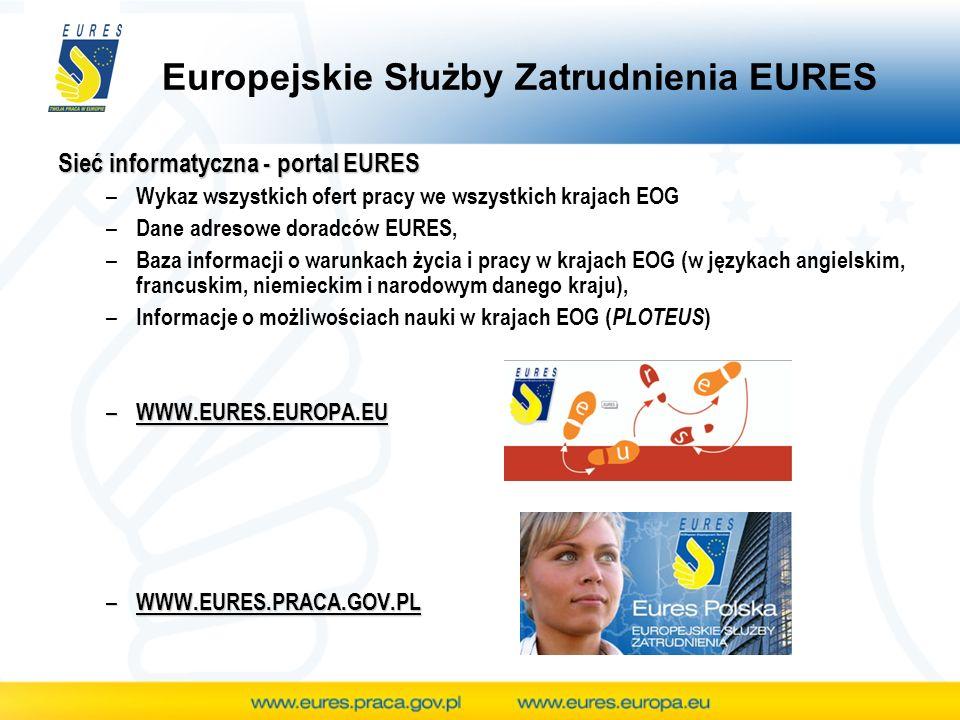 Możliwość udziału w międzynarodowych targach pracy Pracodawcy mogą także uczestniczyć w międzynarodowych imprezach rekrutacyjnych organizowanych w ramach EURES (targi i giełdy pracy, dni rekrutacyjne, dni mobilności...) Informacje znaleźć można na portalu EURES (www.eures.europa.eu - Kalendarz wydarzeń)