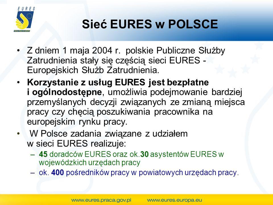 Portal mobilności zawodowej EURES Na portalu dostępne są WSZYSTKIE oferty pracy zgłaszane do urzędów pracy w krajach UE/ EOG Oferty zamieszczane są w JĘZYKU PRACODAWCY Jeśli pracodawca akceptuje kandydatów z innych krajów UE/ EOG, oferta pracy zostaje oznaczona flagą UE