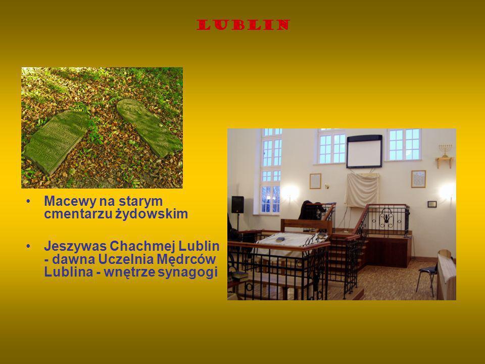 Lublin Macewy na starym cmentarzu żydowskim Jeszywas Chachmej Lublin - dawna Uczelnia Mędrców Lublina - wnętrze synagogi