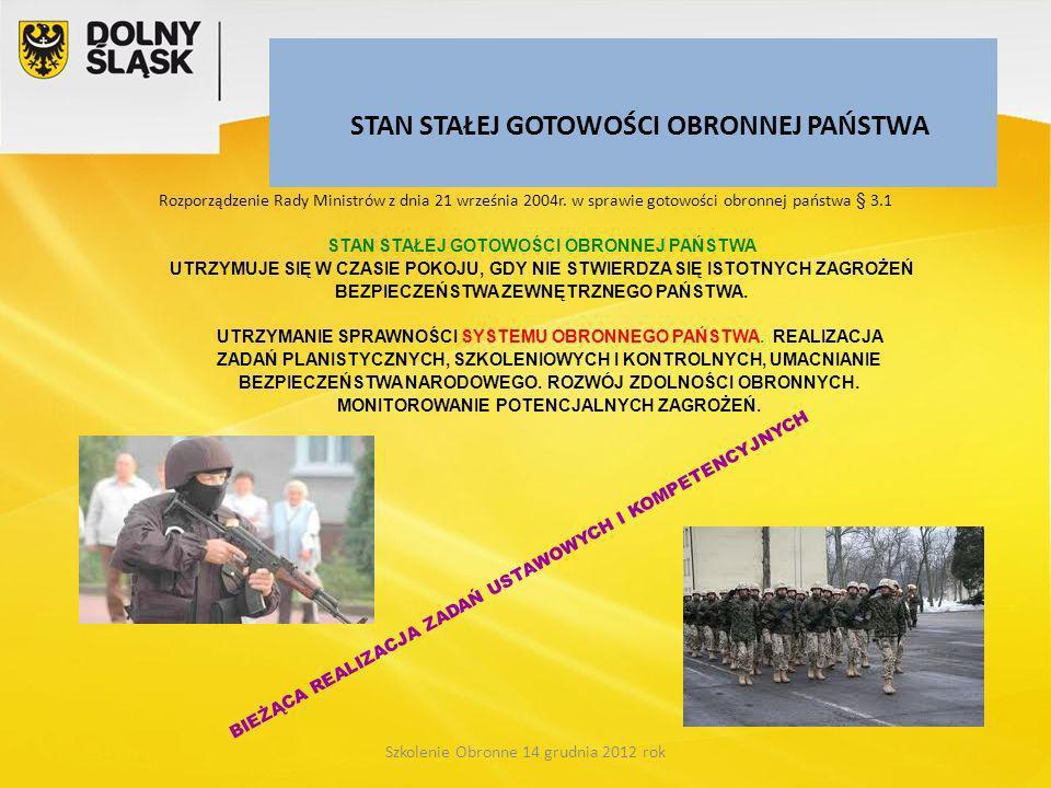 STAN STAŁEJ GOTOWOŚCI OBRONNEJ PAŃSTWA Rozporządzenie Rady Ministrów z dnia 21 września 2004r. w sprawie gotowości obronnej państwa § 3.1 Szkolenie Ob