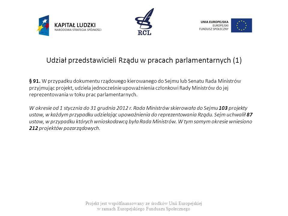 Udział przedstawicieli Rządu w pracach parlamentarnych (1) Projekt jest współfinansowany ze środków Unii Europejskiej w ramach Europejskiego Funduszu