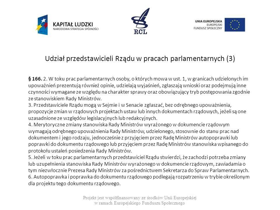 Udział przedstawicieli Rządu w pracach parlamentarnych (3) Projekt jest współfinansowany ze środków Unii Europejskiej w ramach Europejskiego Funduszu