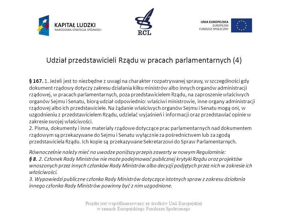 Udział przedstawicieli Rządu w pracach parlamentarnych (4) Projekt jest współfinansowany ze środków Unii Europejskiej w ramach Europejskiego Funduszu