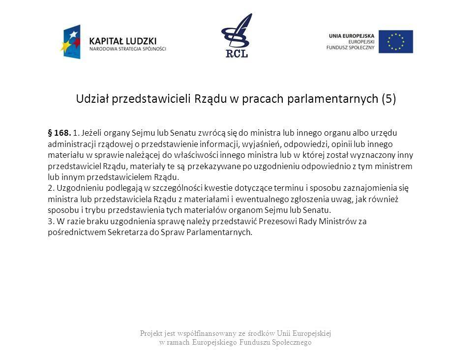 Udział przedstawicieli Rządu w pracach parlamentarnych (5) Projekt jest współfinansowany ze środków Unii Europejskiej w ramach Europejskiego Funduszu