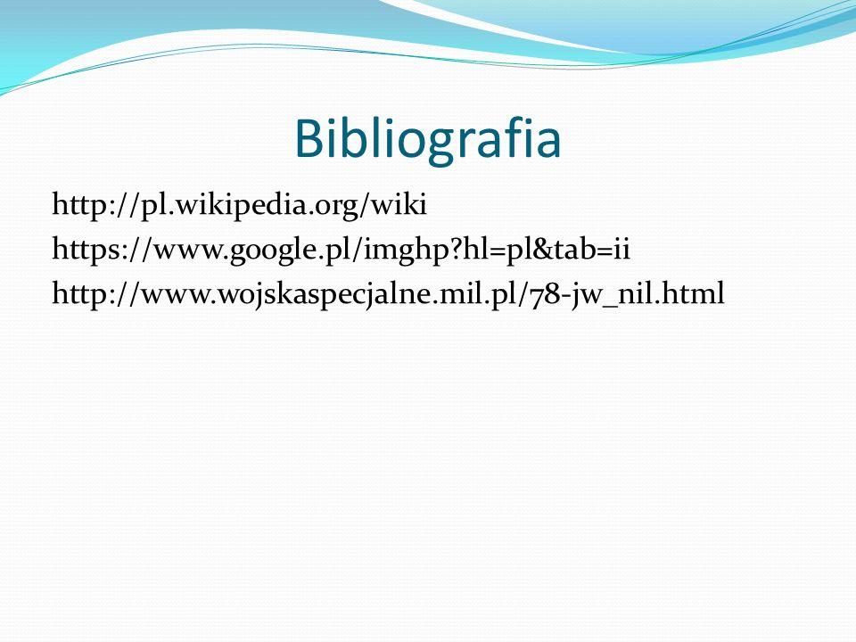 Bibliografia http://pl.wikipedia.org/wiki https://www.google.pl/imghp?hl=pl&tab=ii http://www.wojskaspecjalne.mil.pl/78-jw_nil.html