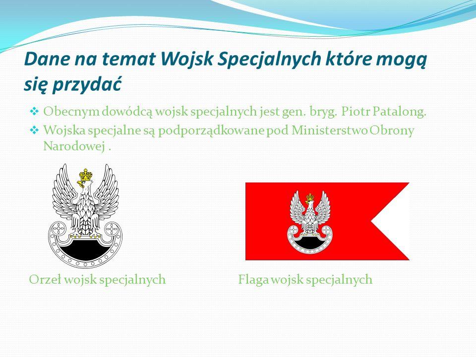 Dane na temat Wojsk Specjalnych które mogą się przydać Obecnym dowódcą wojsk specjalnych jest gen. bryg. Piotr Patalong. Wojska specjalne są podporząd