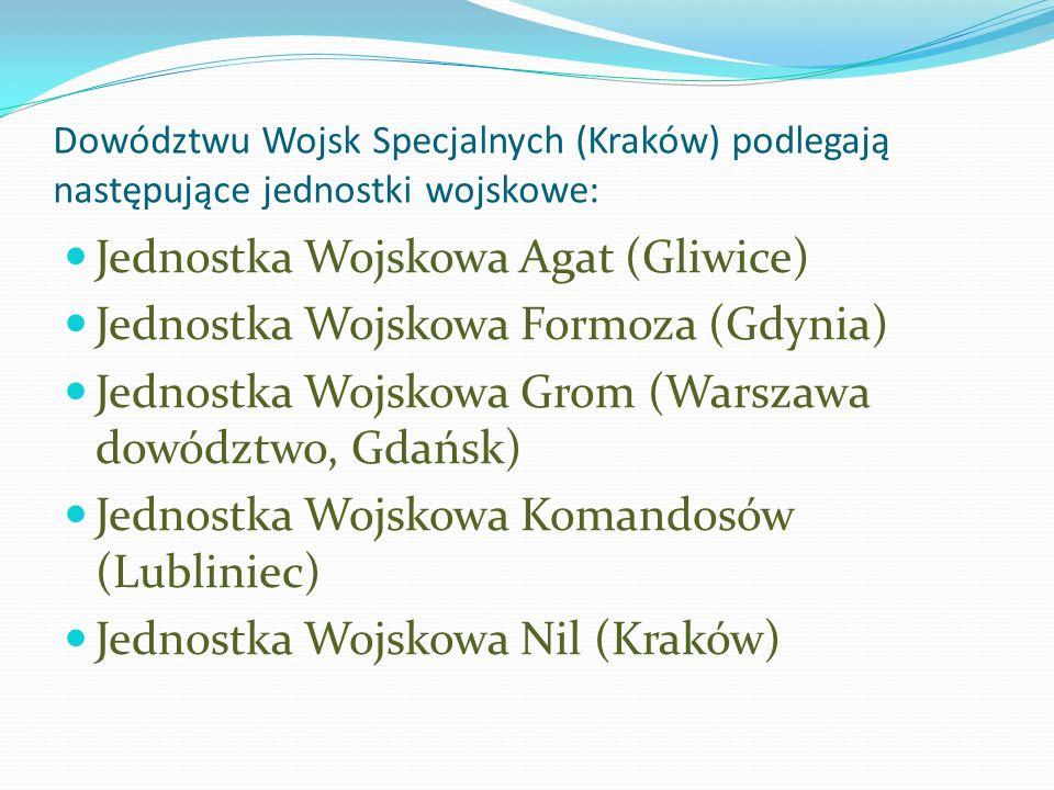 Dowództwu Wojsk Specjalnych (Kraków) podlegają następujące jednostki wojskowe: Jednostka Wojskowa Agat (Gliwice) Jednostka Wojskowa Formoza (Gdynia) J