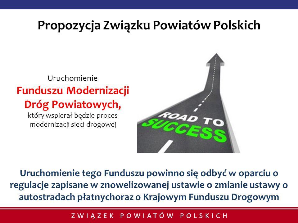 ZWIĄZEK POWIATÓW POLSKICH Uruchomienie Funduszu Modernizacji Dróg Powiatowych, który wspierał będzie proces modernizacji sieci drogowej Uruchomienie t