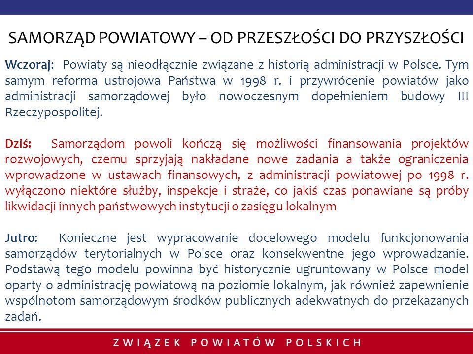 ZWIĄZEK POWIATÓW POLSKICH SAMORZĄD POWIATOWY – OD PRZESZŁOŚCI DO PRZYSZŁOŚCI Wczoraj: Powiaty są nieodłącznie związane z historią administracji w Pols