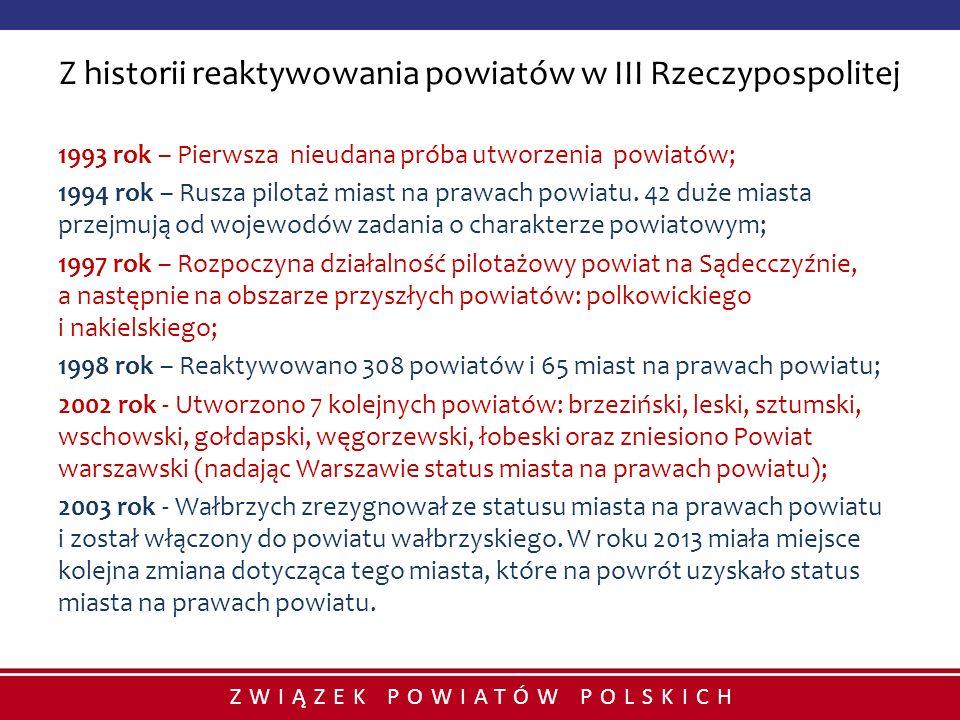 ZWIĄZEK POWIATÓW POLSKICH Z historii reaktywowania powiatów w III Rzeczypospolitej 1993 rok – Pierwsza nieudana próba utworzenia powiatów; 1994 rok –