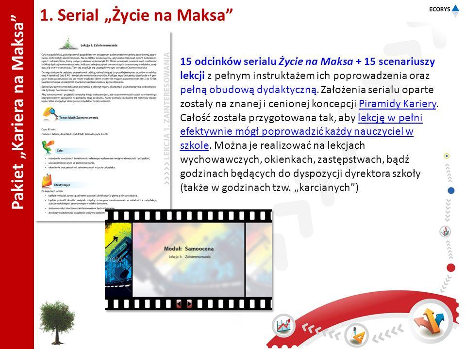 Pakiet Kariera na Maksa 1. Serial Życie na Maksa 15 odcinków serialu Życie na Maksa + 15 scenariuszy lekcji z pełnym instruktażem ich poprowadzenia or