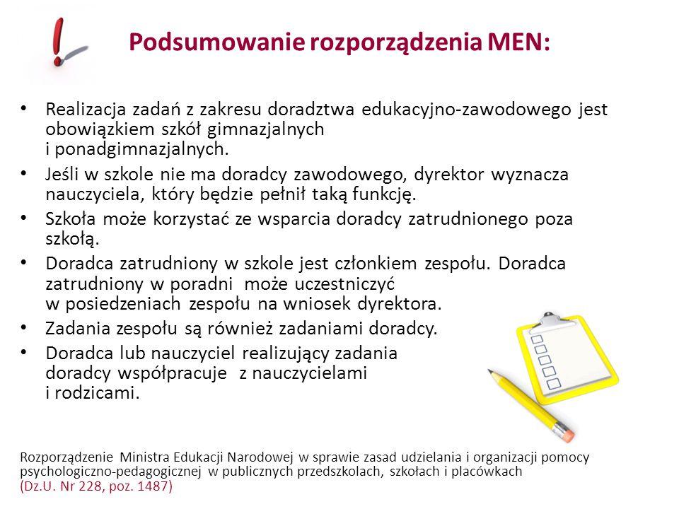 Podsumowanie rozporządzenia MEN: Realizacja zadań z zakresu doradztwa edukacyjno-zawodowego jest obowiązkiem szkół gimnazjalnych i ponadgimnazjalnych.