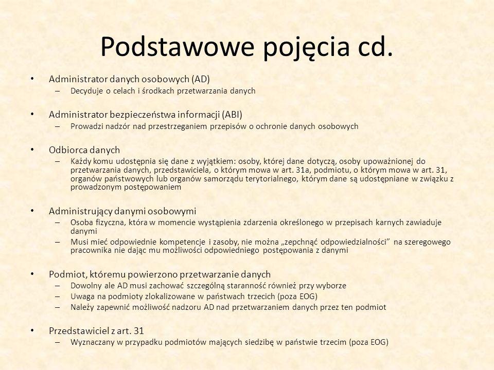 Podstawowe pojęcia cd. Administrator danych osobowych (AD) – Decyduje o celach i środkach przetwarzania danych Administrator bezpieczeństwa informacji