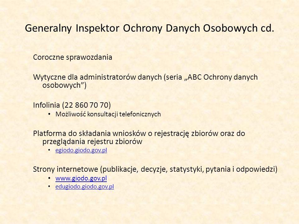 Generalny Inspektor Ochrony Danych Osobowych cd. Coroczne sprawozdania Wytyczne dla administratorów danych (seria ABC Ochrony danych osobowych) Infoli