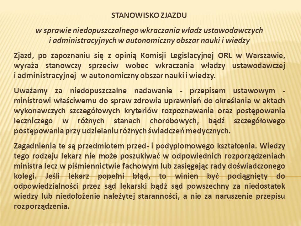 STANOWISKO ZJAZDU w sprawie niedopuszczalnego wkraczania władz ustawodawczych i administracyjnych w autonomiczny obszar nauki i wiedzy Zjazd, po zapoznaniu się z opinią Komisji Legislacyjnej ORL w Warszawie, wyraża stanowczy sprzeciw wobec wkraczania władzy ustawodawczej i administracyjnej w autonomiczny obszar nauki i wiedzy.
