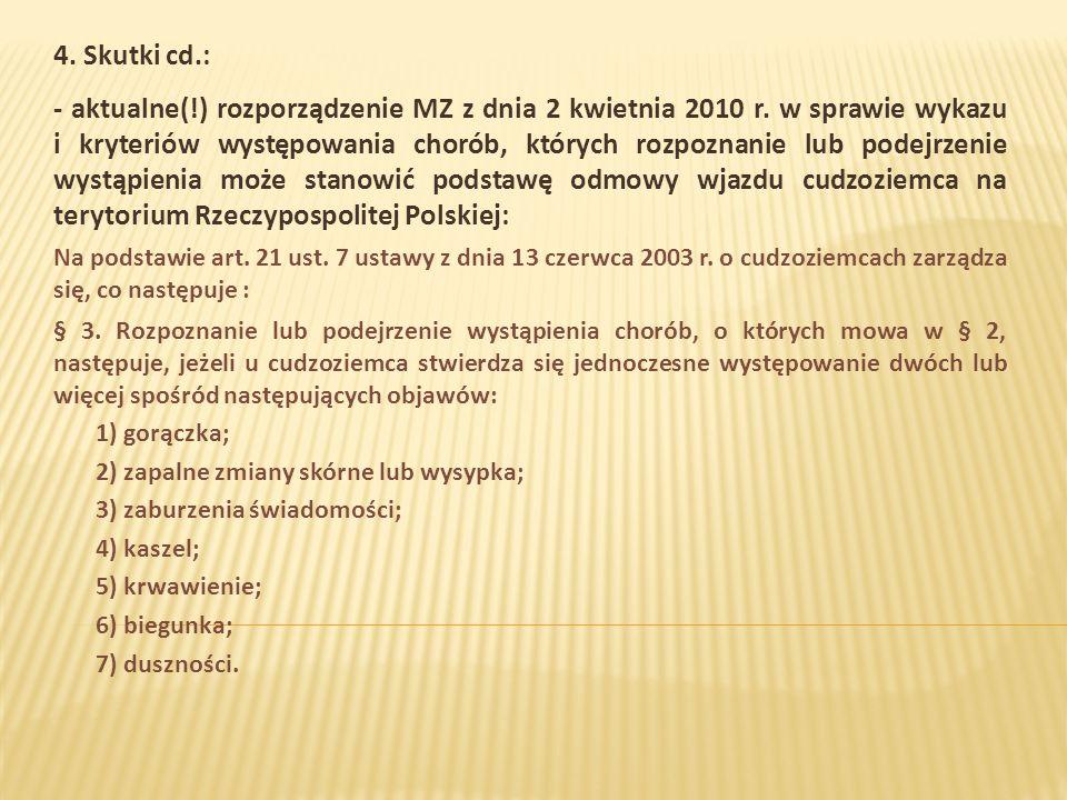 4. Skutki cd.: - aktualne(!) rozporządzenie MZ z dnia 2 kwietnia 2010 r.