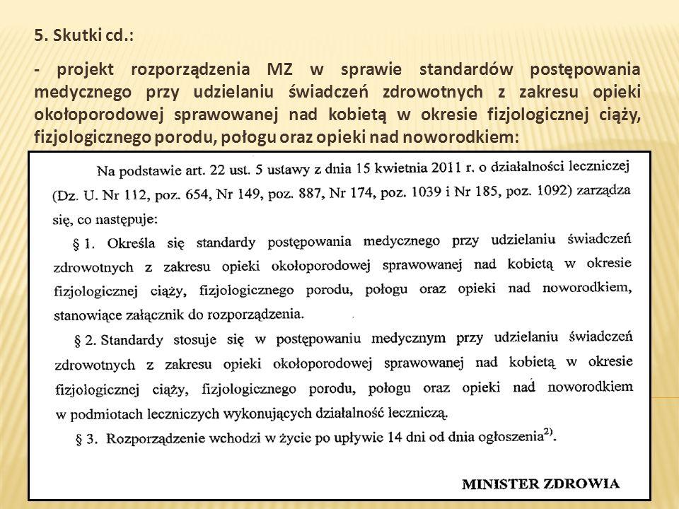 5. Skutki cd.: - projekt rozporządzenia MZ w sprawie standardów postępowania medycznego przy udzielaniu świadczeń zdrowotnych z zakresu opieki okołopo