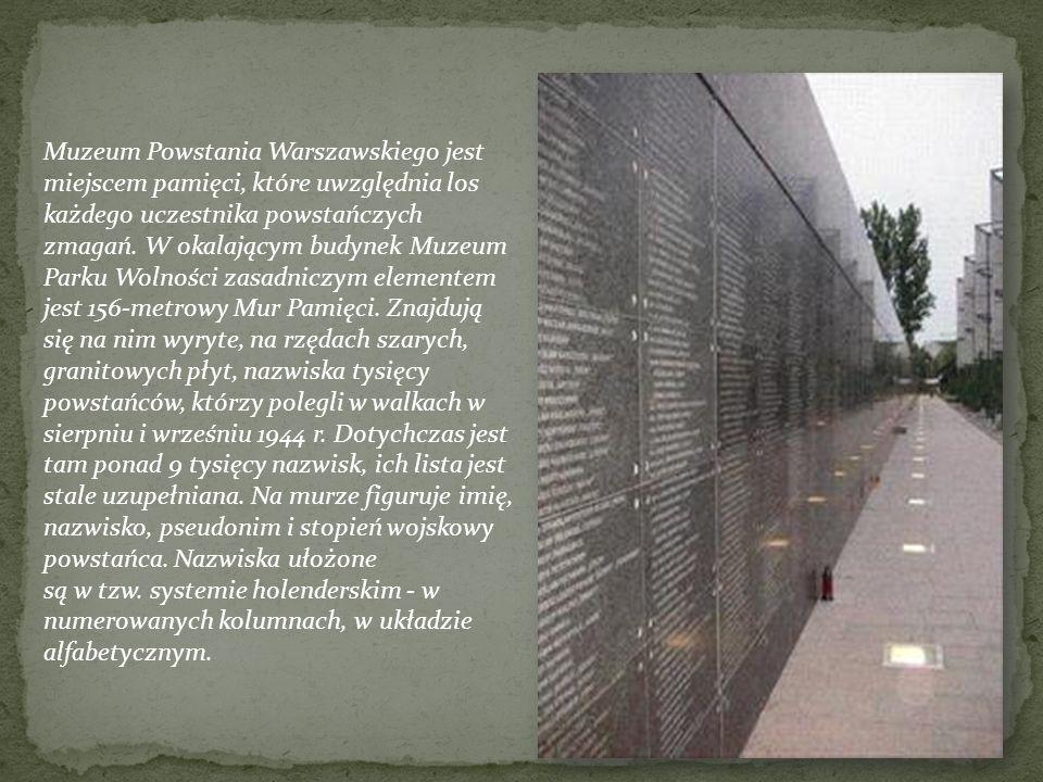 Muzeum Powstania Warszawskiego jest miejscem pamięci, które uwzględnia los każdego uczestnika powstańczych zmagań. W okalającym budynek Muzeum Parku W