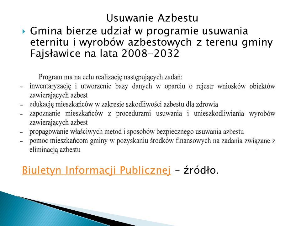 Usuwanie Azbestu Gmina bierze udział w programie usuwania eternitu i wyrobów azbestowych z terenu gminy Fajsławice na lata 2008-2032 Biuletyn Informac