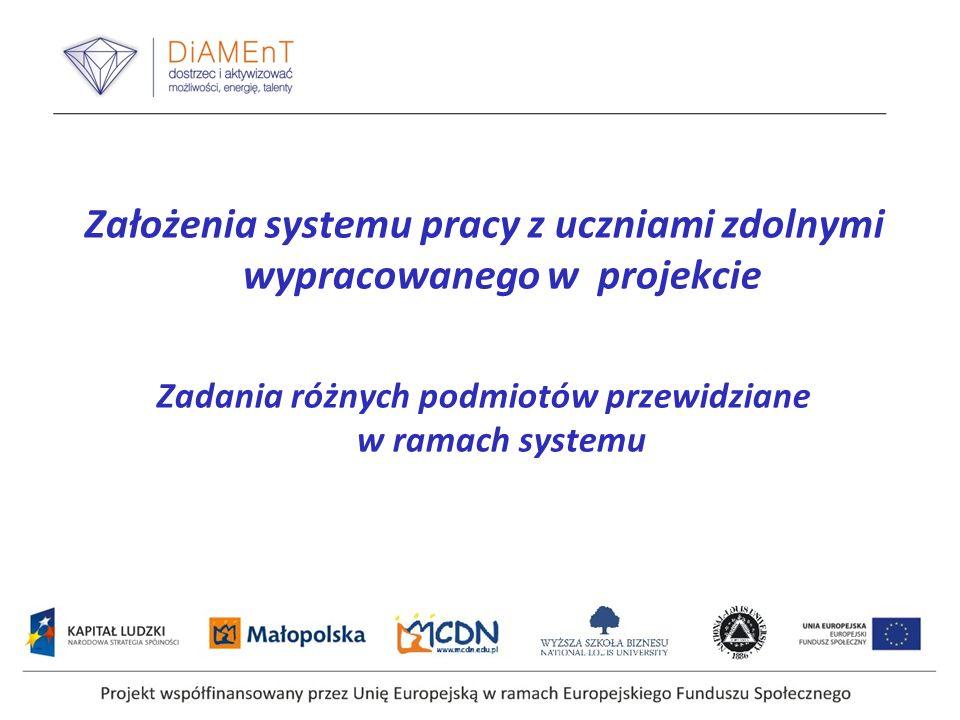 Założenia systemu pracy z uczniami zdolnymi wypracowanego w projekcie Zadania różnych podmiotów przewidziane w ramach systemu