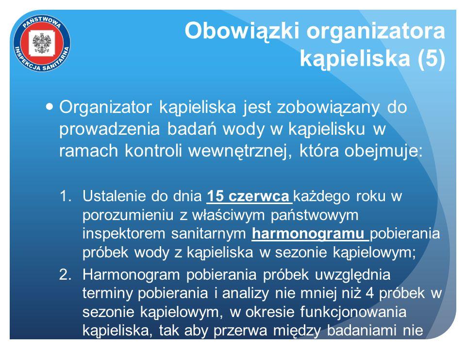 Obowiązki organizatora kąpieliska (5) Organizator kąpieliska jest zobowiązany do prowadzenia badań wody w kąpielisku w ramach kontroli wewnętrznej, kt