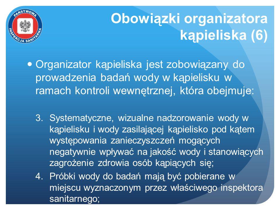 Obowiązki organizatora kąpieliska (6) Organizator kąpieliska jest zobowiązany do prowadzenia badań wody w kąpielisku w ramach kontroli wewnętrznej, kt