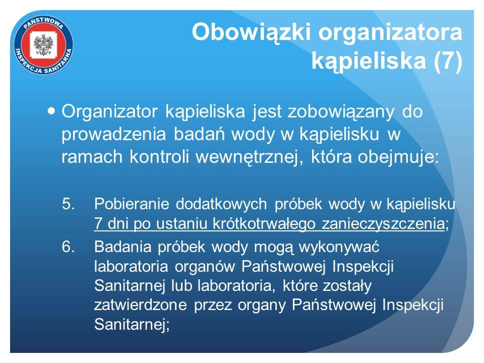 Obowiązki organizatora kąpieliska (7) Organizator kąpieliska jest zobowiązany do prowadzenia badań wody w kąpielisku w ramach kontroli wewnętrznej, kt