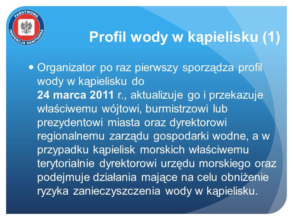 Profil wody w kąpielisku (1) Organizator po raz pierwszy sporządza profil wody w kąpielisku do 24 marca 2011 r., aktualizuje go i przekazuje właściwem