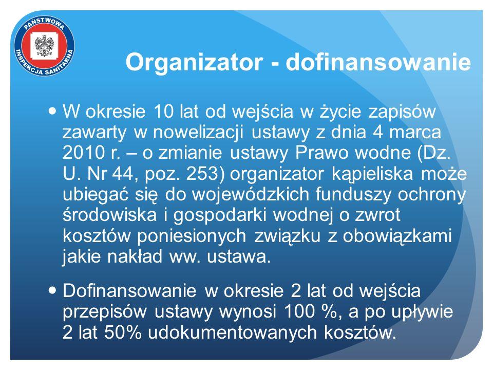 Organizator - dofinansowanie W okresie 10 lat od wejścia w życie zapisów zawarty w nowelizacji ustawy z dnia 4 marca 2010 r. – o zmianie ustawy Prawo