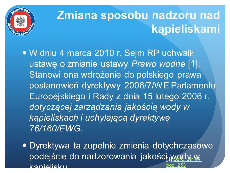 Zmiana sposobu nadzoru nad kąpieliskami W dniu 4 marca 2010 r. Sejm RP uchwalił ustawę o zmianie ustawy Prawo wodne [1]. Stanowi ona wdrożenie do pols