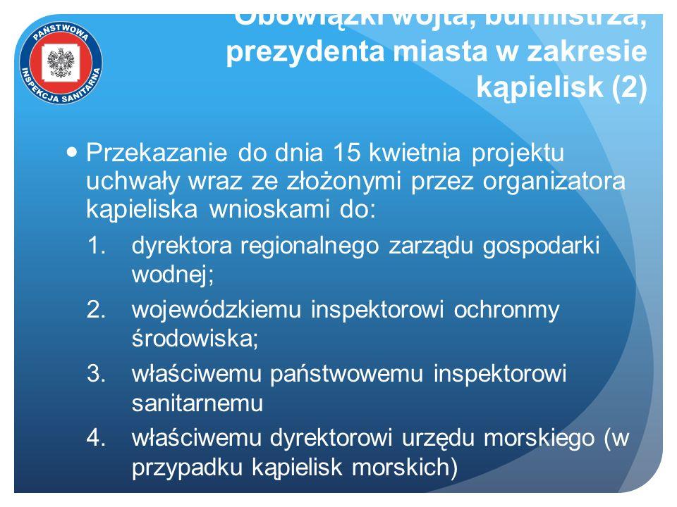 Obowiązki wójta, burmistrza, prezydenta miasta w zakresie kąpielisk (2) Przekazanie do dnia 15 kwietnia projektu uchwały wraz ze złożonymi przez organ