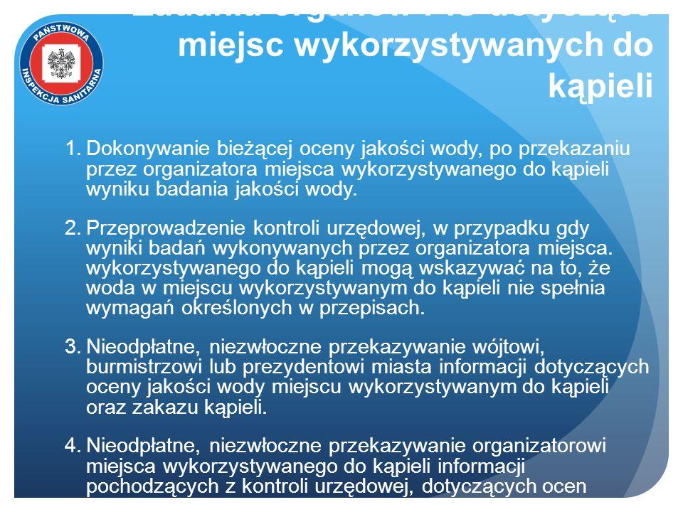 Zadania organów PIS dotyczące miejsc wykorzystywanych do kąpieli Dokonywanie bieżącej oceny jakości wody, po przekazaniu przez organizatora miejsca wy