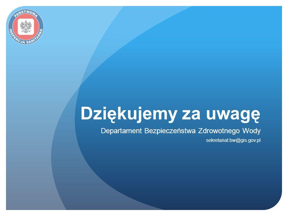 Dziękujemy za uwagę Departament Bezpieczeństwa Zdrowotnego Wody sekretariat.bw@gis.gov.pl