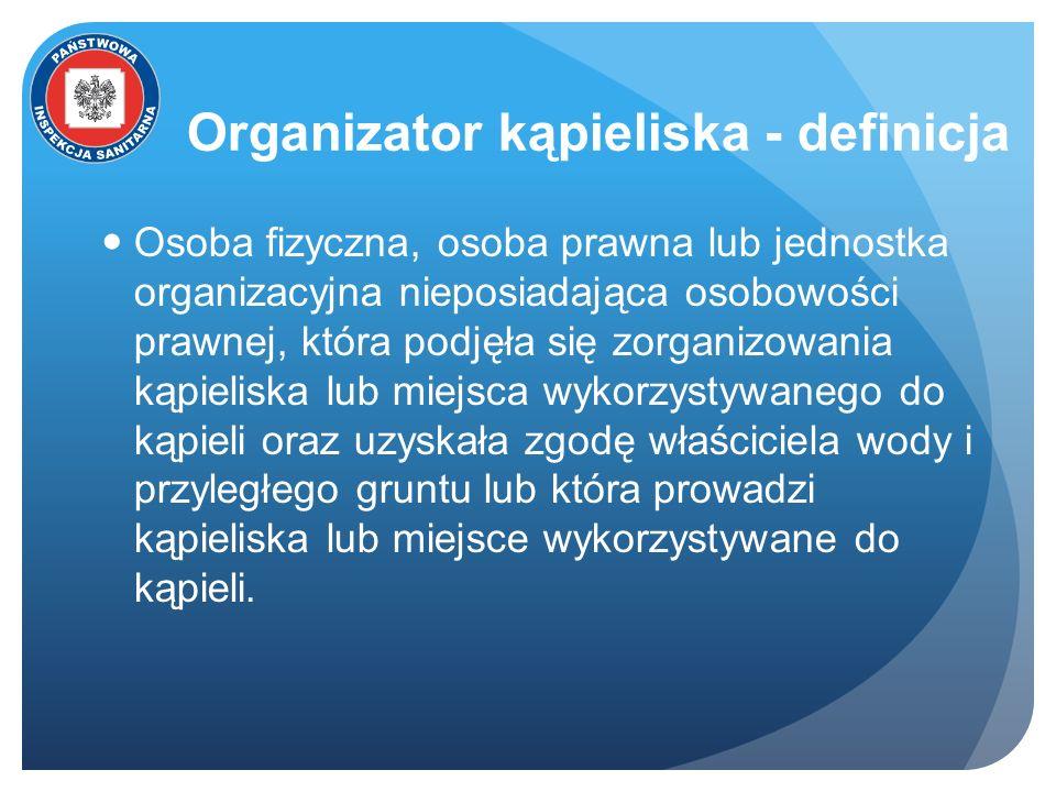 Organizator kąpieliska - definicja Osoba fizyczna, osoba prawna lub jednostka organizacyjna nieposiadająca osobowości prawnej, która podjęła się zorga
