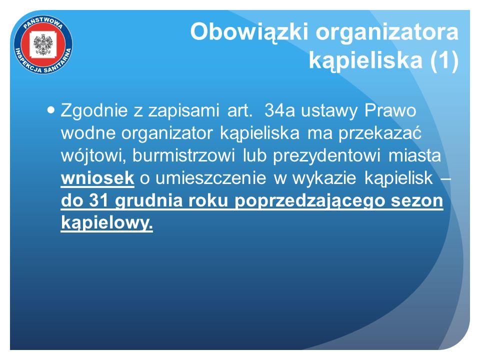 Obowiązki organizatora kąpieliska (1) Zgodnie z zapisami art. 34a ustawy Prawo wodne organizator kąpieliska ma przekazać wójtowi, burmistrzowi lub pre