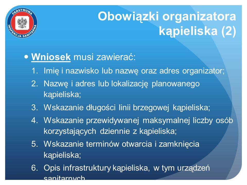 Obowiązki organizatora kąpieliska (2) Wniosek musi zawierać: 1.Imię i nazwisko lub nazwę oraz adres organizator; 2.Nazwę i adres lub lokalizację plano
