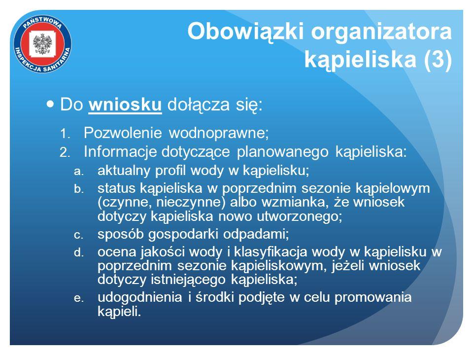 Obowiązki organizatora kąpieliska (3) Do wniosku dołącza się: 1. Pozwolenie wodnoprawne; 2. Informacje dotyczące planowanego kąpieliska: a. aktualny p