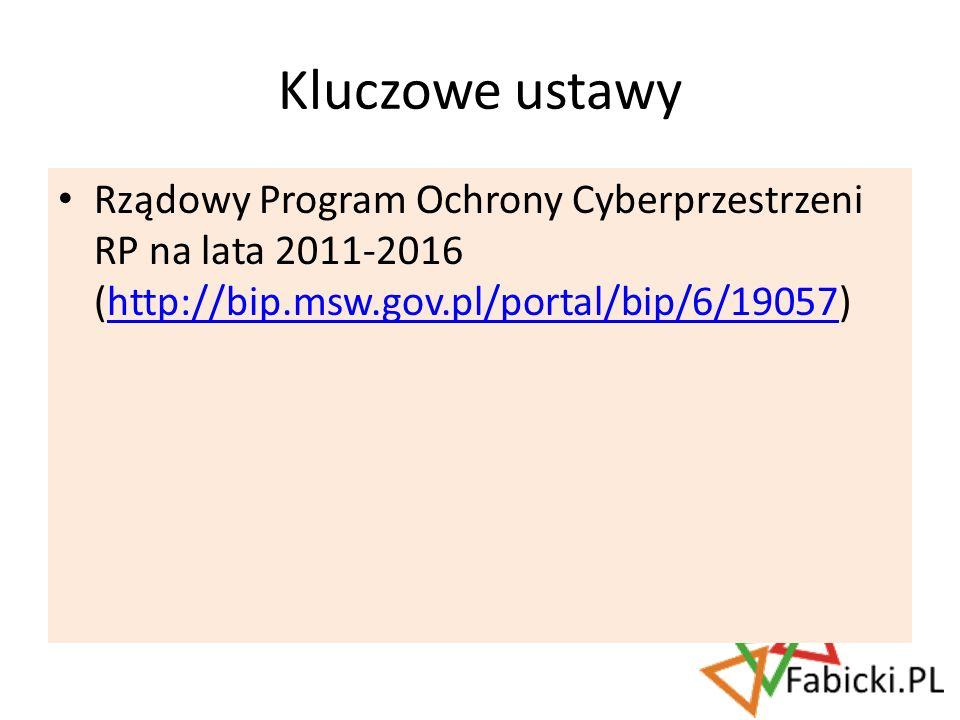 Rządowy Program Ochrony Cyberprzestrzeni RP na lata 2011-2016 (http://bip.msw.gov.pl/portal/bip/6/19057)http://bip.msw.gov.pl/portal/bip/6/19057 Klucz