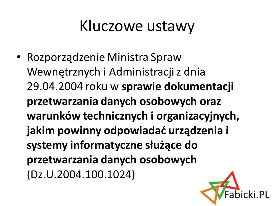 Rozporządzenie Ministra Spraw Wewnętrznych i Administracji z dnia 29.04.2004 roku w sprawie dokumentacji przetwarzania danych osobowych oraz warunków