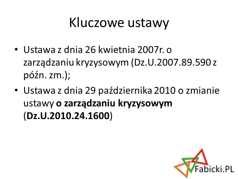 Ustawa z dnia 26 kwietnia 2007r. o zarządzaniu kryzysowym (Dz.U.2007.89.590 z późn. zm.); Ustawa z dnia 29 października 2010 o zmianie ustawy o zarząd