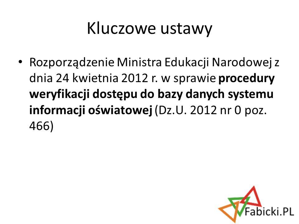 Rozporządzenie Ministra Edukacji Narodowej z dnia 24 kwietnia 2012 r. w sprawie procedury weryfikacji dostępu do bazy danych systemu informacji oświat