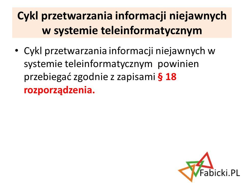 Cykl przetwarzania informacji niejawnych w systemie teleinformatycznym powinien przebiegać zgodnie z zapisami § 18 rozporządzenia. Cykl przetwarzania