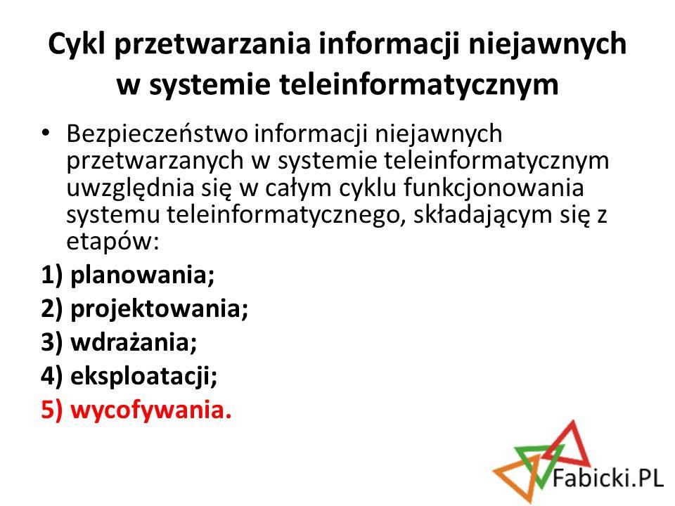 Bezpieczeństwo informacji niejawnych przetwarzanych w systemie teleinformatycznym uwzględnia się w całym cyklu funkcjonowania systemu teleinformatyczn