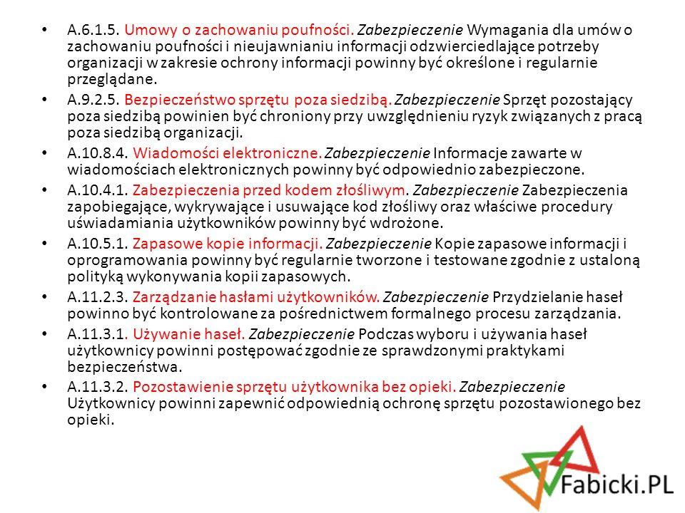 A.6.1.5. Umowy o zachowaniu poufności. Zabezpieczenie Wymagania dla umów o zachowaniu poufności i nieujawnianiu informacji odzwierciedlające potrzeby