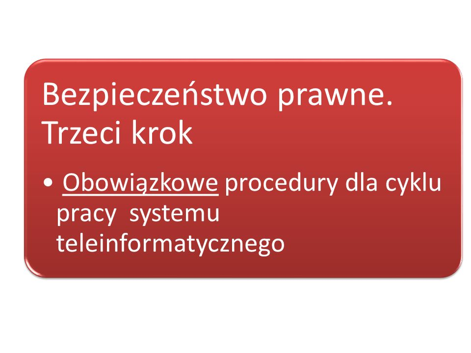 Rozporządzenie Ministra Spraw Wewnętrznych i Administracji z dnia 29.04.2004 roku w sprawie dokumentacji przetwarzania danych osobowych oraz warunków technicznych i organizacyjnych, jakim powinny odpowiadać urządzenia i systemy informatyczne służące do przetwarzania danych osobowych (Dz.U.2004.100.1024) Kluczowe ustawy
